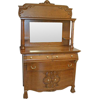 Oak Sideboard with Beveled Mirror, Columns and Claw Feet