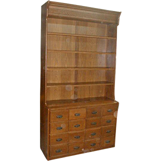 Country Drug Store Apothecary Cabinet with 16 Drawers