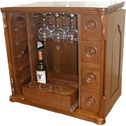 Walnut Sewing Cabinet Re Purposed As Wine /  Liquor Cabinet