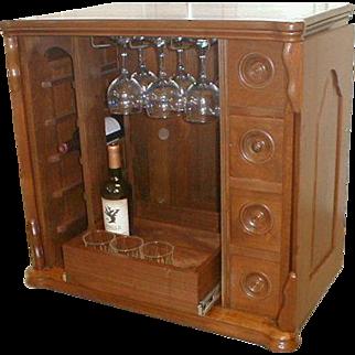 Walnut Sewing Cabinet Re Purposed As Wine /  Liquor Cabinet