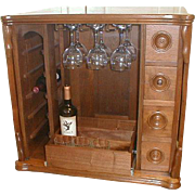 Walnut Wine Liquor Cabinet Re Purposed from Sewing Cabinet