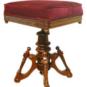 Victorian Piano Stool / Vanity Stool with Velvet Padded Seat