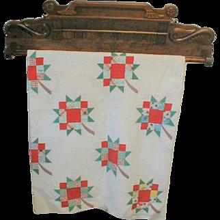Victorian Quilt Rack Towel Bar in Walnut