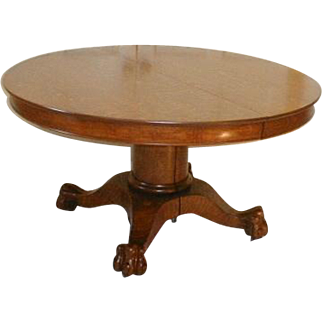 Oak Dining Table 54 Round with Leaves