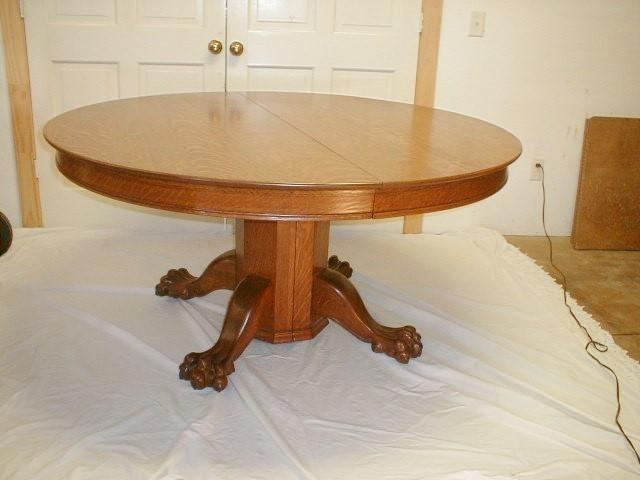 19th Century 60 Inch Round Oak Dining Table with 6 Leaves ...