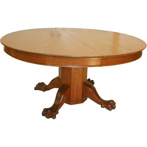 19th Century 60 Inch Round Oak Dining Table With 6 Leaves From Rayspassion On