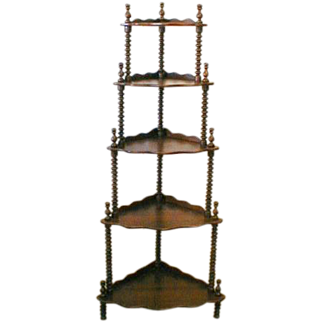 Tiered Corner Shelf with Victorian Jenny Lind Spindles