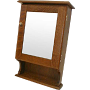 Oak Medicine Cabinet with Beveled Mirror