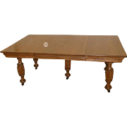 Oak 19th Century American 5 Leg Dining Table