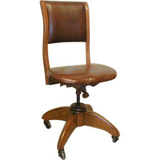 Oak Office Chair with Leather Upholstry