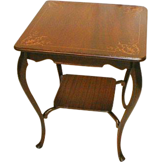 Victorian Lamp Table with Acanthus Leaf Inlay