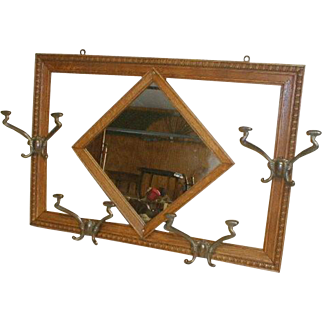 Hat and Coat Rack with Mirror