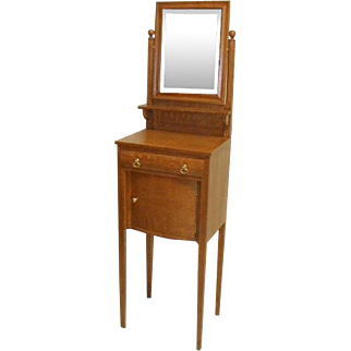 Oak Victorian Shaving Stand with Mirror and Storage