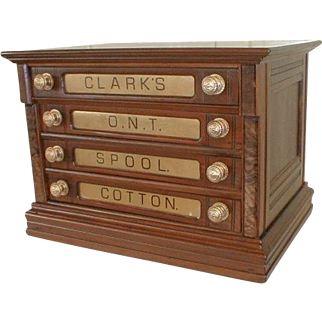 Clark 4 Drawer Spool Cabinet with Gold Glass Labels