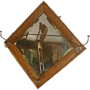 Oak Wall Mirror with Hat Hooks