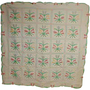 Hand Made Quilt with Pastel Tulips