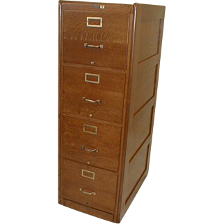 Oak Four Drawer File Cabinet Made About 1910