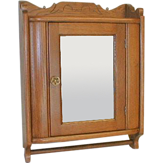 Oak Medicine Cabinet in Art Deco Style