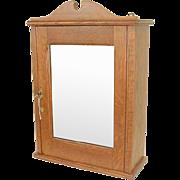 Oak Medicine Cabinet with Mirror Dated 1905