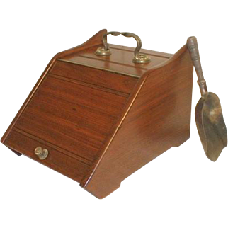 Walnut Coal Hod with Brass Shovel