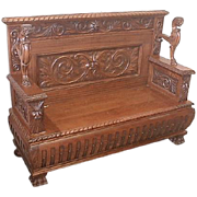 Oak Victorian Hall Bench by R J Horner