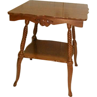 Victorian Oak Lamp Table with Fancy Legs
