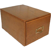 Large Oak Index Card File Box