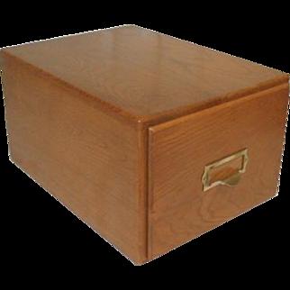 Large Oak Index Card File Box