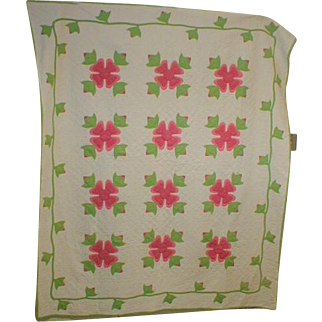 Vintage Quilt Pink and Green Floral
