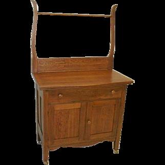 Oak Victorian Washstand with Towel Bar