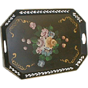 Vintage Tole Tray with Roses