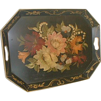 Tole Tray with Painted Wild Flowers