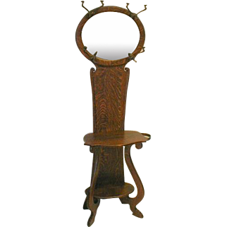 Arts & Craft Hall Tree with Oval Mirror