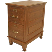 Oak Victorian 2 Drawer File Cabinet with Raised Panel Sides