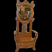 Victorian Oak Hall Tree with Mirror
