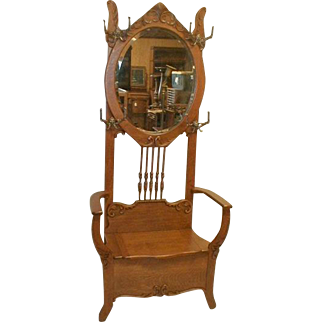Victorian Oak Hall Tree with Mirror