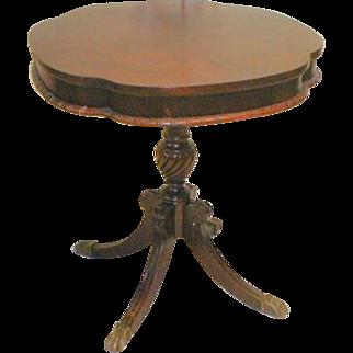 Mahogany Lamp Table with Duncan Phyfe Legs