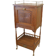Oak Victorian Cellarette with  Brass Gallery