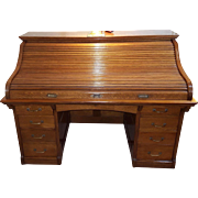 American Oak Large Roll Top Desk