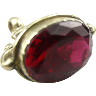 Red Rhodolite crystal set pinchbeck fob seal charm pendant