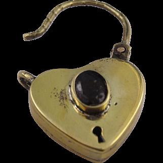 Beautiful large heart padlock set with bohemian garnet