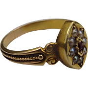 Gorgeous 15 Carat gold Victorian antique Ruby and Pearl ring