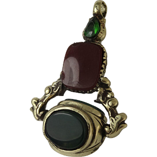 Interesting triple swivel fob seal set with blood stone carnelian and crystal