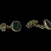 Cufflinks with Piggys set with green agate,  1940 artisan handmade, ideal Christmas present