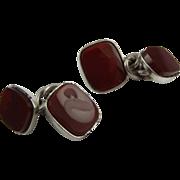Classic edwardian silver and cornelien cufflinks