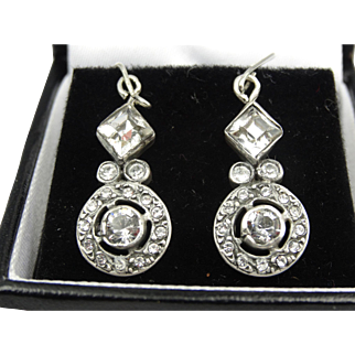 Beautiful art deco silver and crystal earrings with foiled back crystals