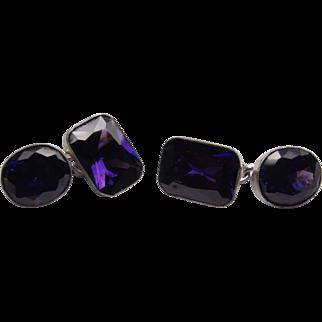 Gorgeous artisan vintage amethyst crystal and silver 925 cufflinks
