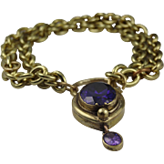 Stunning bracelet with large lock set with amethyst crystal