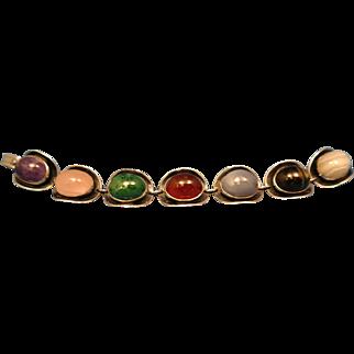 South African, Modernist, Sterling Silver, Multicolored, Signed W.W.L. Saddle Link Bracelet.