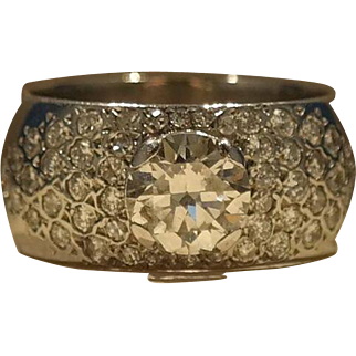 1.85 ct. total weight,14 Karat White gold Diamond Set Pave Ring.